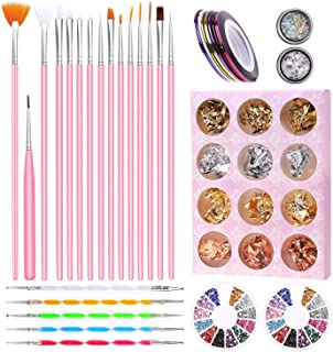 Nail Art Supplies, Anezus Nail Art Tools Set with 15Pcs Nail Painting Brushes, 5Pcs Nail Dotting Pen, Nail Striping Tape, Nail Foil, Rhinestones for Nails and 3D nail diamonds rhinestones Kit