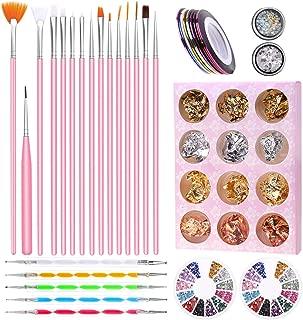 Nail Art Supplies, Anezus Nail Art Tools Set with 15Pcs Nail Painting Brushes, 5Pcs Nail Dotting Pen, Nail Striping Tape, Nail Foil, Rhinestones for Nails and 3D nail diamonds rhinestones Kit