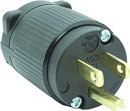 Journeyman-Pro 515PV 15 Amp 120-125 Volt, NEMA 5-15P, 2Pole 3Wire, Straight Blade, Male Plug Replacement Cord Outlet, Commercial Grade PVC Black (BLACK 1-PACK)