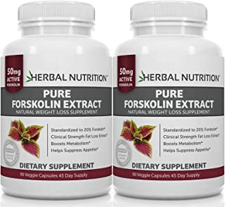 #1 Rated Forskolin Extract for Weight Loss, 250mg Two 90 Count Bottles, 20% Extract of Pure Coleus Forskohlii, Ideal Diet and Athletes Formula, Promotes Lean Body Mass, US MFD, Free Shipping