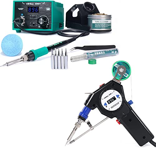 high quality YIHUA 939D+ Professional Soldering wholesale Station (Green) bundle with The 929D-II Auto-feed Soldering System outlet sale and Accessories (16 Items) sale