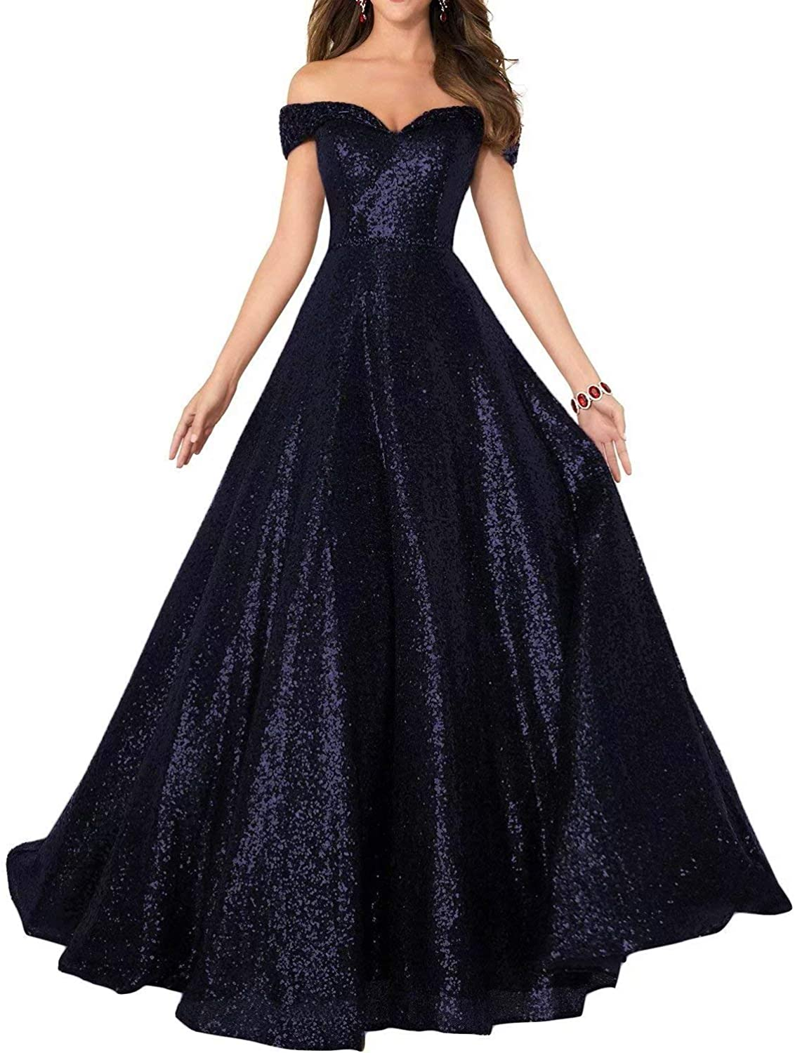 EEFZL Women's Off Shoulder Sequin Prom Dress Long Beaded Evening Party Ball Gown