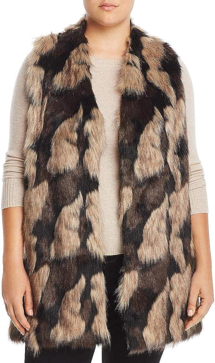 Joseph A. Womens Plus Faux Fur Open Front Vest