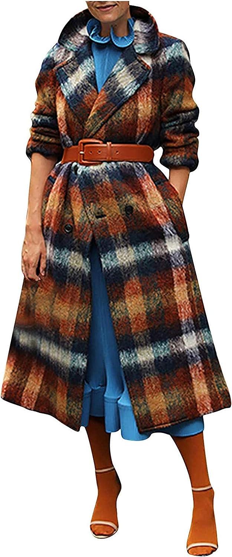 San Antonio Mall Trench discount Coats for Women Fashion Casual Lo Double-Breasted Lattice