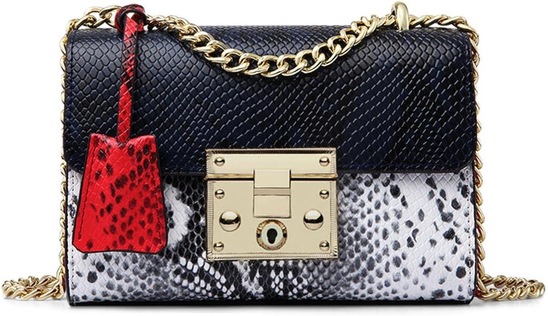 Women Messenger Bag Genuine Leather Serpentine Panelled Crossbody Bag Fashion Design Shoulder Bag Chains Bag