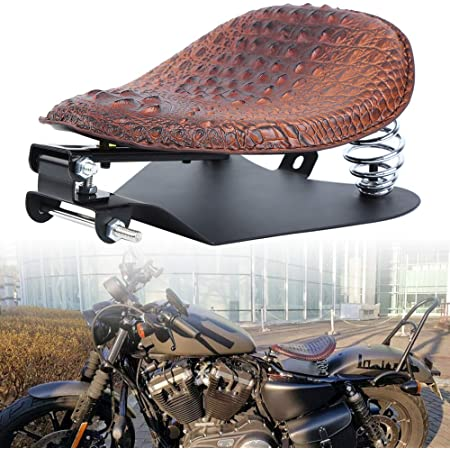 Ambienceo Crocodile Leather Motorcycle Bobber Solo Seat Brown Spring Bracket Base Set Compatible With Harley Sportster XL 883 1200