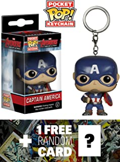 Captain America: Pocket POP! x Avengers - Age of Ultron Mini-Figure Keychain + 1 FREE Official Marvel Trading Card Bundle [52249]
