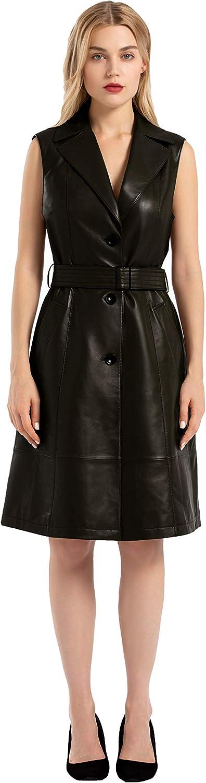 Women's Sleeveless Leather Midi Vest Dress with Belt (Black, Medium)