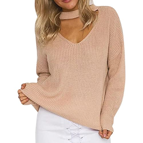 2073b19e531de0 LAEMILIA Women's Casual Choker V Neck Long Sleeve Loose Knit Sweater Tops Jumper  Pullover Tops