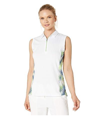 Callaway 1/4 Zip Starburst Printed Sleeveless Polo (Brilliant White) Women