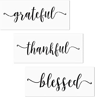 3 PCS Grateful Thankful Blessed Stencils AZDIY Reusable Stencil Set for Painting on Wood Laser Cut Painting Stencil for Home Décor & DIY Projects – Quote Word Stencil Set