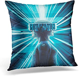 Sdamase Throw Pillow Cover Blue Man Virtual Reality Twins 3D Male Female Figures Wearing Glasses Augmented Decorative Pillow Case Home Decor Square 18