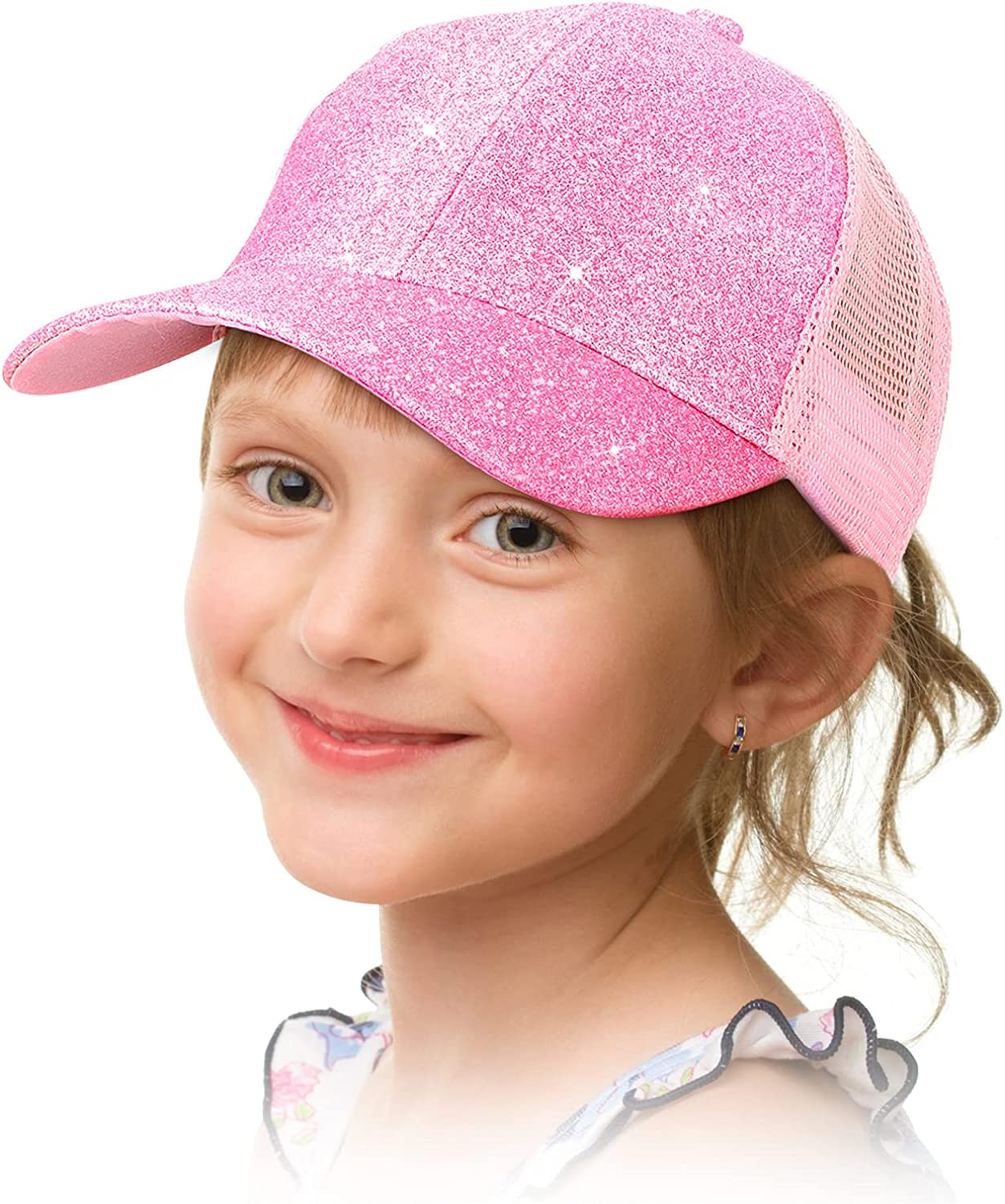 Geyoga Girls Ponytail Hat Glitter Baseball Cap with High Bun Messy Ponytail Hole (Pink, 1): Clothing, Shoes & Jewelry