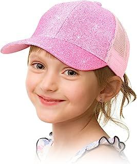 Geyoga Girls Ponytail Hat Glitter Baseball Cap with High Bun Messy Ponytail Hole