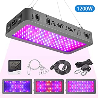 1200W LED Grow Light with Veg/Bloom Double Switches, Full Spectrum LED Grow Lamp for Indoor Plants Veg and Flower, with Thermometer Humidity Monitor,with Adjustable Rope,with Hanging Hook