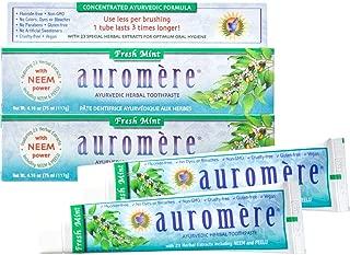 Auromere Ayurvedic Herbal Toothpaste, Fresh Mint 4.16oz (Pack of 2)