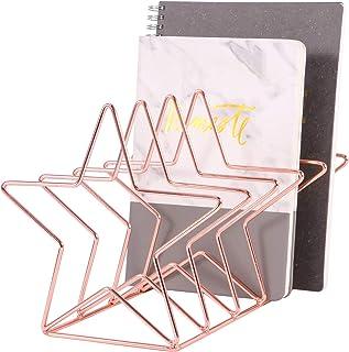Simmer Stone Magazine Holder File Sorter, Metal 5 Slot Desk Organizer Rack for Document, Folder, Letter and Book, Rose Gold, Pentastar Shape