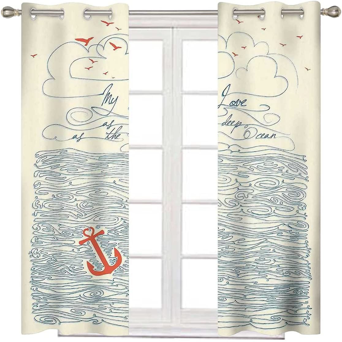 Extra Wide It is very popular Curtain Panels 108 Courier shipping free Inch Long Waves Birds and Message