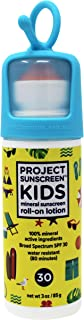 PROJECT SUNSCREEN Kids Sun Protection SPF 30 Zinc Oxide Mineral ROLL-ON Stick, Face and Body Sensitive Skin, Lotion 3oz Yellow