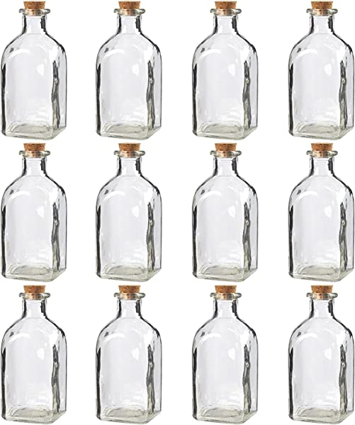 Juvale Clear Glass Bottles With Cork Lids 12 Pack Of Small Transparent Jars With Stoppers For Vintage Wedding Decoration DIY Home Party Favors 4 75 X 2 X 2 Inches