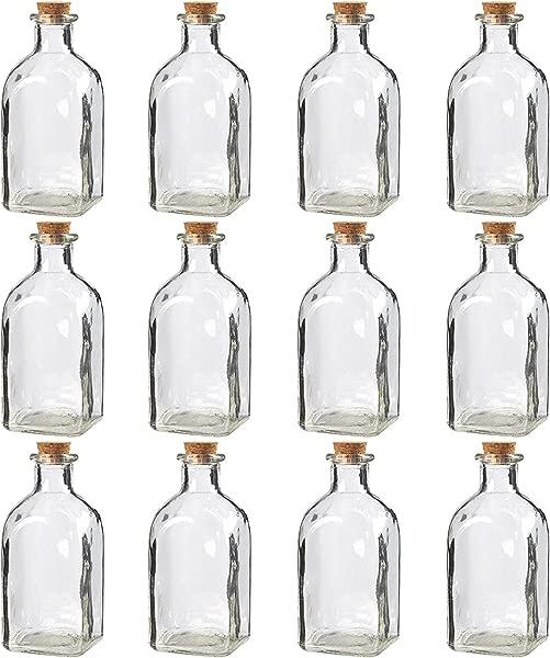 Juvale 透明玻璃瓶带软木塞盖子 12 包小型透明罐子带瓶塞用于复古婚礼装饰 DIY 家居派对优惠 4 75X2 英寸