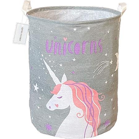 QIMI Large Storage Bins,Waterproof Laundry Hamper with Handles Canvas Organizer Bin for Kids Hamper Nursery Hamper(Grey Unicorn)