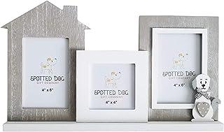 SPOTTED DOG GIFT COMPANY Marco de Fotos Múltiple para 3 Fotos 10 x 15 cm y 10 x 10 cm con Perro, Madera Blanco y Gris