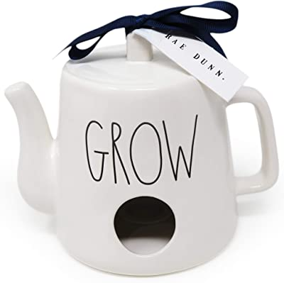 Rae Dunn By Magenta Grow Ceramic LL Watering Can Teapot Shaped Decorative Birdhouse with Navy Blue Ribbon 2020 Limited Edition