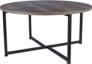Household Essentials Grey Top Black Frame Ashwood Round Coffee Table
