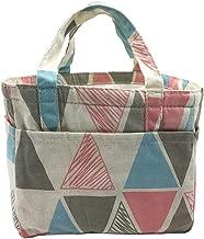 Insulated Lunch Bag Reusable Sling Shoulder Lunch Tote Travel Picnic Drawstring Bento Cooler Bag, Front Pocket and 2 Side Pockets (Color Triangles)
