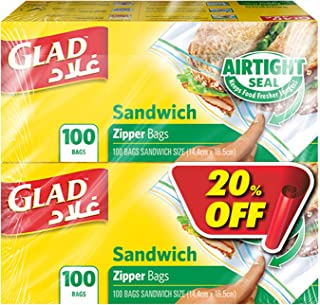 Glad Zipper Food Storage Sandwich Bags, 2 x 100