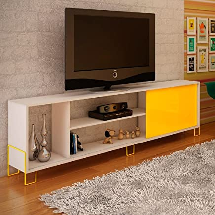 BRV Moveis TV Table With Two Shelves And One Cabinet for 50 inch TV - White & Yellow (H 56 cm x W 180 cm x D 30 cm)