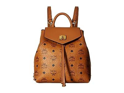 MCM Essential Visetos Original Backpack Small (Cognac) Backpack Bags