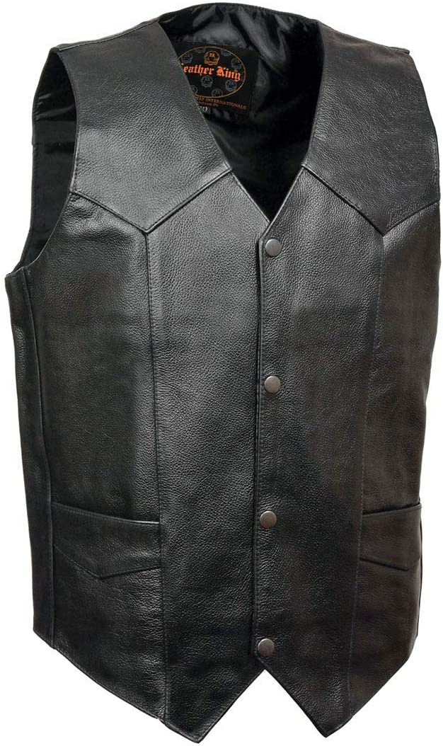 Leather King XS1310LET Men's Classic Black Leather Vest with Snap Button Closure - 2X-Small