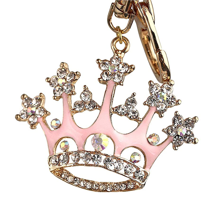 New Arrival Adorable Pink Queen Crown Crystal Big Key Ring Keychain Z639-B