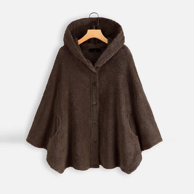 HCFKJ Sweatshirt Damen Große Größe Button Plüschjacke mit Kapuze Wolle Einfarbig Warm Langarm Mantel Pullover Bluse Herbst Winter Kaffee#3