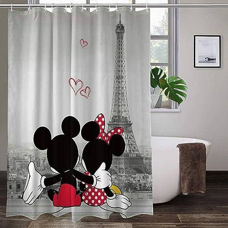 Amazon Com Mickey Minnie Shower Curtain Cartoon Movie Eiffel Tower Lover Bath Shower Curtains Heavy Duty For Men Women Home Kitchen