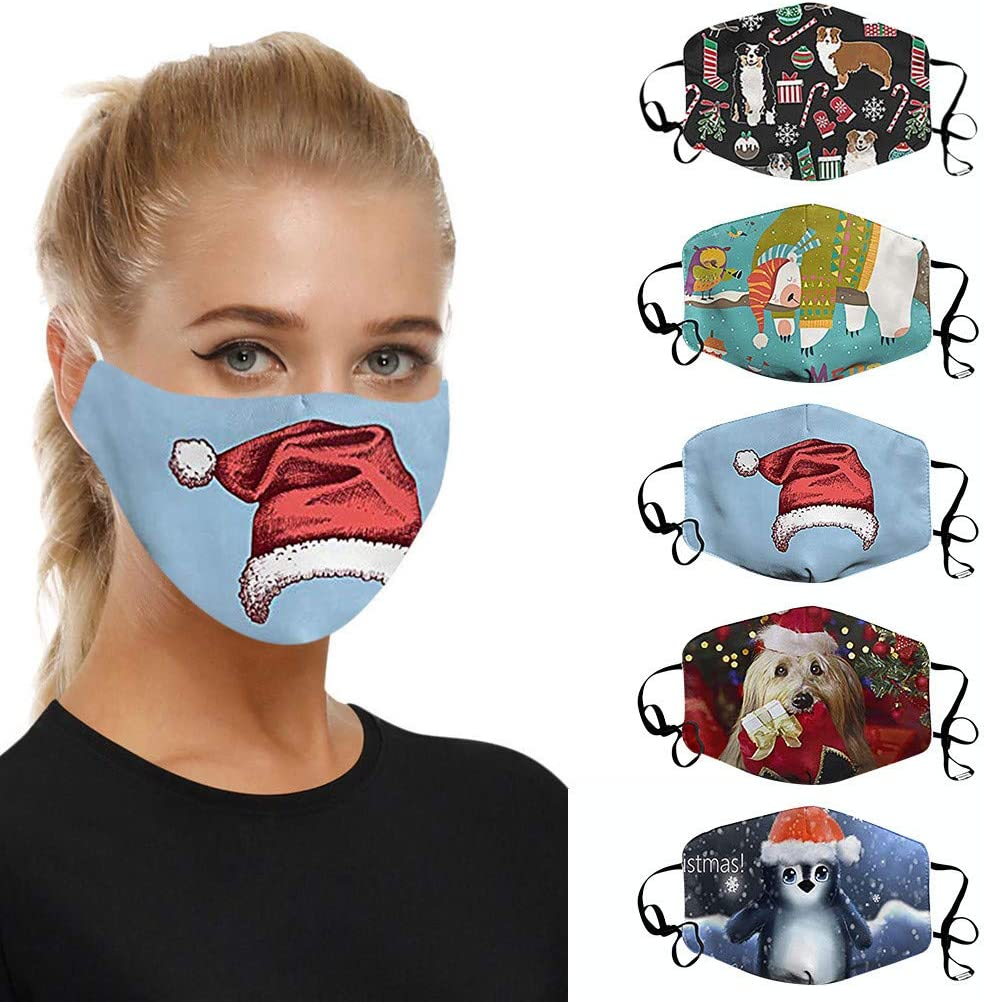 5 Pc Christmas Face_Masks Special price 2021 model for a limited time Reusable Unsiex Men Women Washable