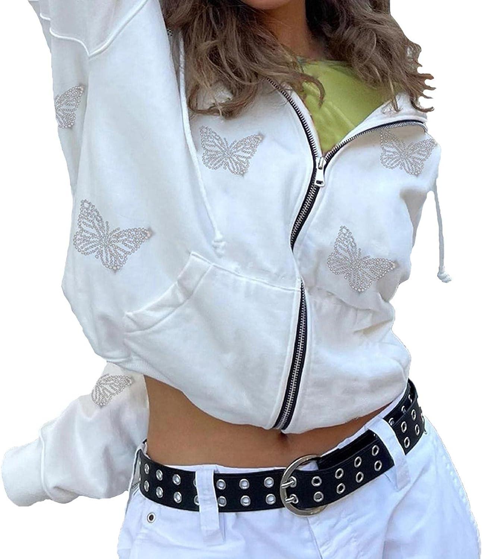 Hemlock Women Butterfly Print Jackets Long Sleeve Zip Up Hoodie Coat Fashion Sweatshirt Jacket Cardigan Tops