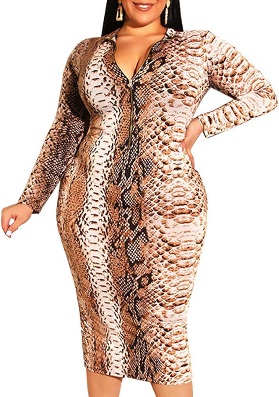 ECDAHICC Women's Sexy Plus Size Floral Print Deep V Neck Long Sleeve Zip Bodycon Slim Sheath Long Midi Pencil Dress with Belt