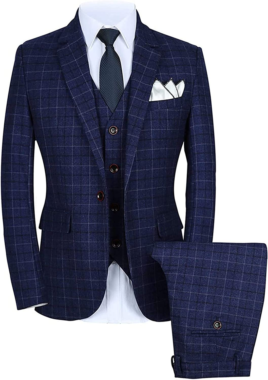 Wemaliyzd Men's 3 Pieces Formal Checkered Suit Centre Vent Single Breasted Vest Pants