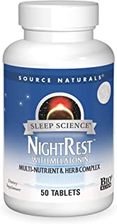 Source Naturals Sleep Science NightRest Multi-Nutrient & Herb Complex With Melatonin, GABA, Passion Flower, Chamomile, Lem...