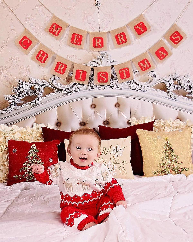 Zoerea Maglione Bambino Unisex Tutina Maglioni per Bimbi Tutine Neonato Maglioni Natale Maglieria Bambina e Cuffietta