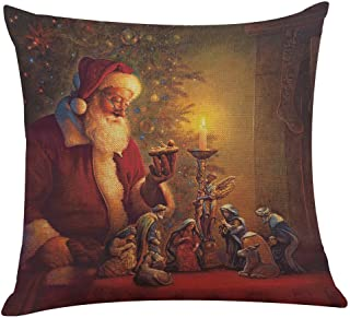 ZOMUSA Christmas Pillow Case, 1pcs Santa Claus Holding Gifts Printing Living Room Decoration Hug Pillow Covers 18x18 Inches (1-D)