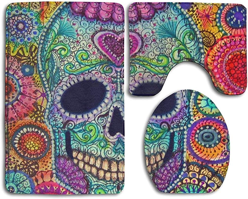 Super Soft Memory Foam Popular popular Multi Color Sugar Skull Flower Bathroom Easy-to-use R