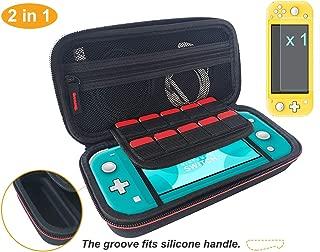 Nintendo Switch Liteケース+ガラス強化保護フィルム1枚、カード10枚収納、耐衝撃、防塵、防水、黒