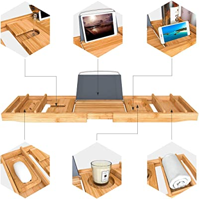 Domax Expandable Bathtub Caddy Tray and Bamboo 3-Tier Wall Mount Shelf
