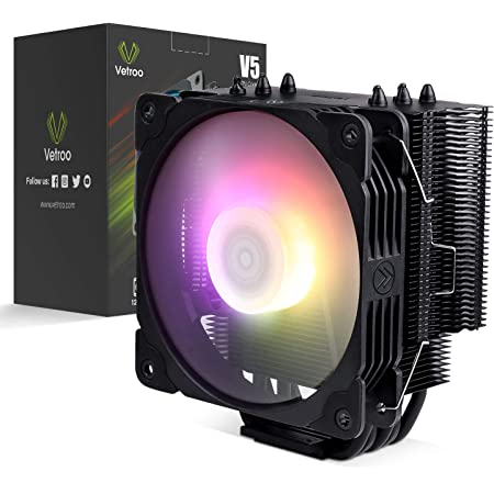 Vetroo V5 CPU Cooler - 5 Direct Contact Heat Pipes - 120mm PWM Fans - Addressable RGB Light - Intel/AMD Socket Support (Black)