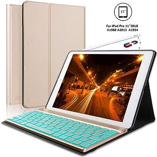 iPad Pro 11 Inch Keyboard Case for iPad Pro 11 2018, 【Support Pencil Charging】 iPad Pro 2018 Leather Wireless Bluetooth Keyboard, Auto Wake/Sleep, Gold