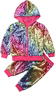 Baby Boy Girls Sequin Outfits Long Sleeve Hooded Zip Sweatshirt Top Pants Set, Toddler Girl Fall Clothes 1-6Y
